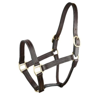 Triple Stitched Leather Halter with o snap